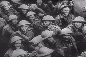 Rescued British troops gathered in a ship at Dunkirk.