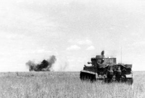 A German Tiger I tank in combat during the Battle of Kursk in 1943