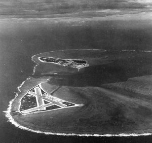 Midway Atoll, several months before the battle. Eastern Island (with the airfield) is in the foreground, and the larger Sand Island is in the background to the west.