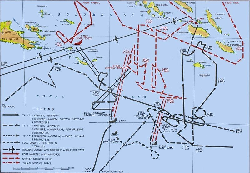 Battle of Coral Sea Map