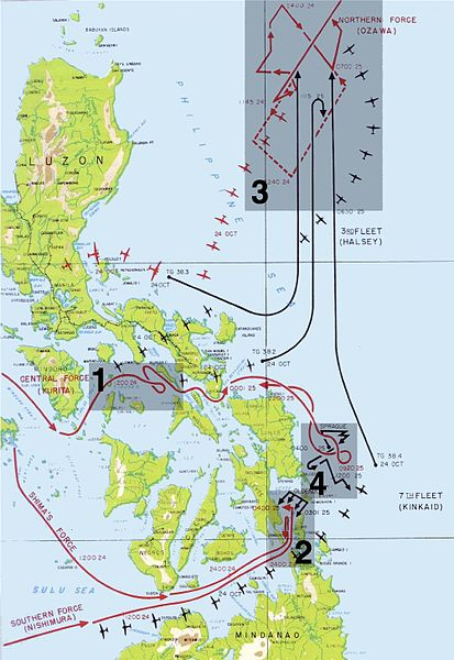 Battle of Leyte Gulf Map
