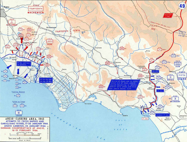 Force dispositions at Anzio and Cassino January/February 1944