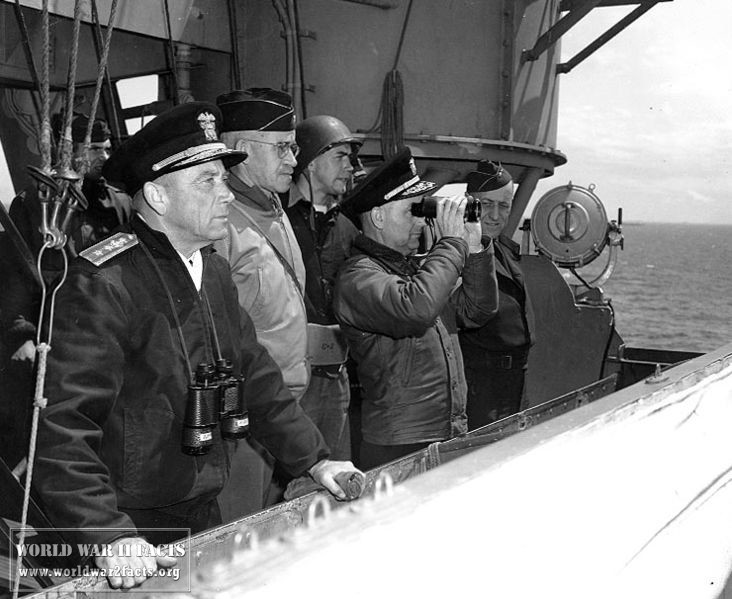 Senior military officials aboard the USS Augusta observing the Normandy invasion, June 1944.