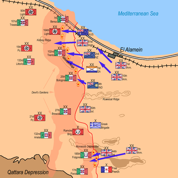 Second Battle of El Alamein, The Allied Forces attack: 10pm- October 23rd, 1942