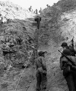 "Normandy Invasion, June 1944 U.S. Army Rangers show off the ladders they used to storm the cliffs at Pointe du Hoc, which they assaulted in support of ""Omaha"" Beach landings on ""D-Day""."