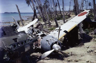 A6M3 Zero abandoned at Munda Airfield (Central Solomon Islands), photo was taken after Allied Invasion, September 1943