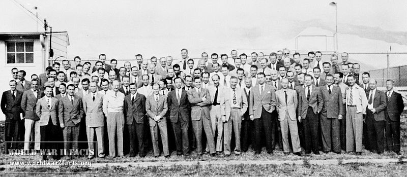 Group of 104 German rocket scientists in 1946, including Wernher von Braun, Ludwig Roth and Arthur Rudolph, at Fort Bliss, Texas. The group had been subdivided into two sections: a smaller one at White Sands Proving Grounds for test launches and the larger at Fort Bliss for research. Many had worked to develop the V-2 Rocket at Peenemünde Germany and came to the U.S. after World War II, subsequently working on various rockets including the Explorer 1 Space rocket and the Saturn (rocket) at NASA.