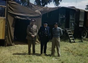 Left to right:      The Chief of the Imperial General Staff, Field Marshal Sir Alan Brooke     Mr Winston Churchill     Commander of the 21st Army Group, General Sir Bernard Montgomery  at Montgomery's mobile headquarters in Normandy. Date 12 June 1944