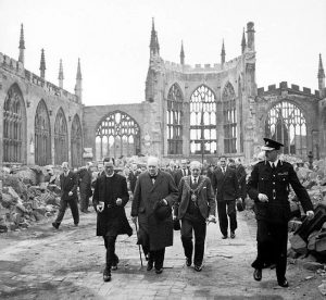 Winston Churchill visiting the ruins of Coventry Cathedral following its destruction in the Coventry Blitz of 14/15th November 1940. Date 28 September 1941