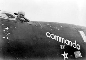 "Winston Churchill in the cockpit of B24 Liberator ""Commando"", in which Captain William Vanderkloot flew him to Moscow to meet Joseph Stalin, August 1942 Date 1942"