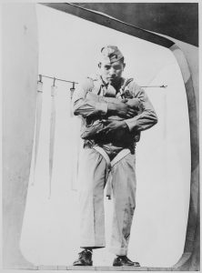 Pfc. Ira H. Hayes, a Pima, at age 19, ready to jump, Marine Corps Parachute School, 1943