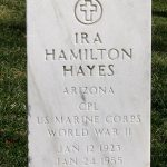 The tombstone of Ira Hayes at Arlington National Cemetery.