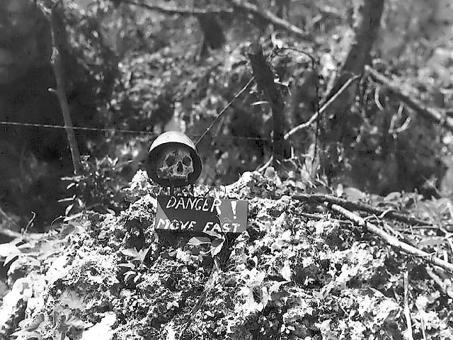 Front line warning sign on Peleliu October 1944