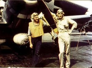 Ensign George Gay (right), sole survivor of VT-8 at Midway, standing beside his TBD Devastator on June 4, 1942 before the Battle of Midway. The other crewman pictured is one of his rear gunners.