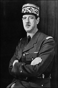WWII French General Charles De Gaulle  A WWII photo portrait of General Charles de Gaulle of the Free French Forces and first president of the Fifth Republic serving from 1959 to 1969.