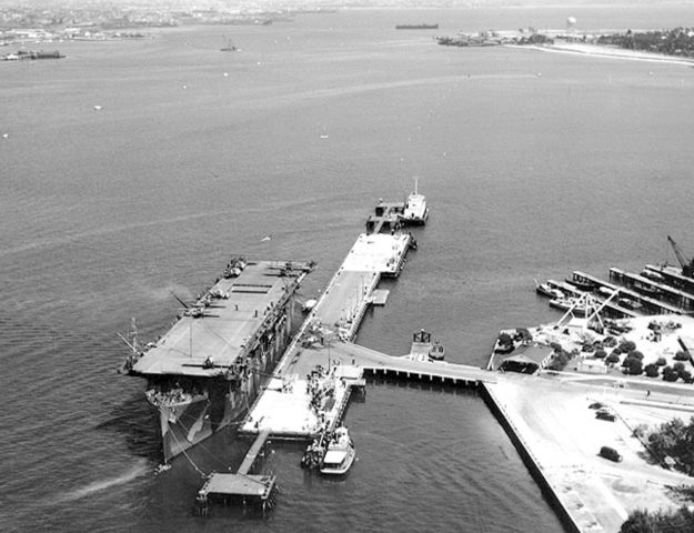 Moored at Naval Air Station, North Island, California, on 2 June 1942