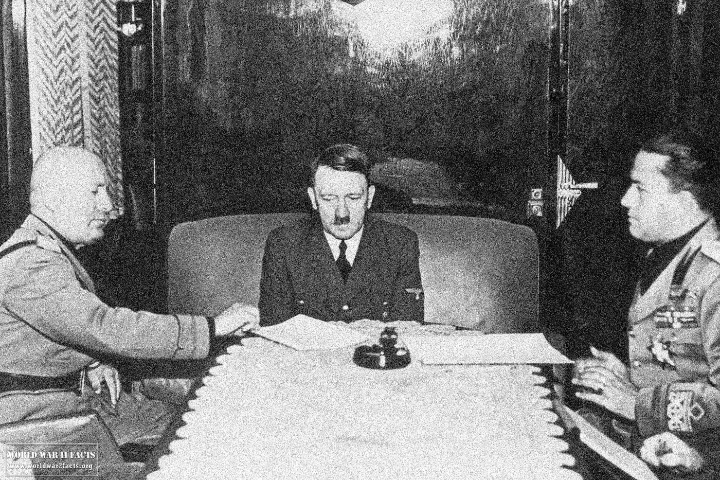Mussolini and Hitler - Axis Powers WWII (KEYSTONE/HULTON ARCHIVE/GETTY IMAGES)