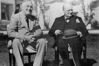 Franklin D. Roosevelt with Winston Churchill at the Casablanca Conference.