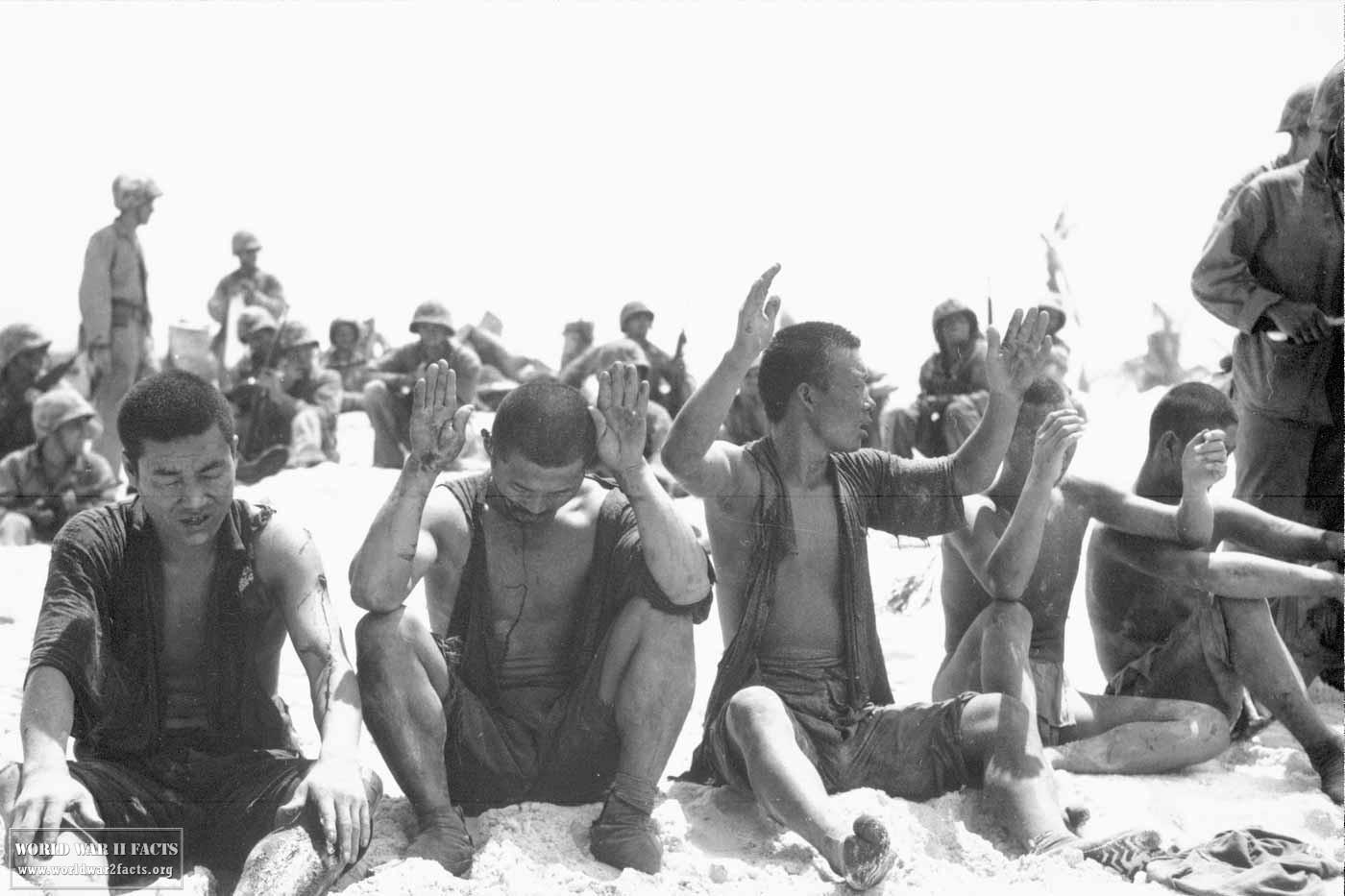 Japanese prisoners of war at the Battle of tarawa